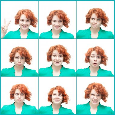Red-haired young woman, isolated on white background, collage of
