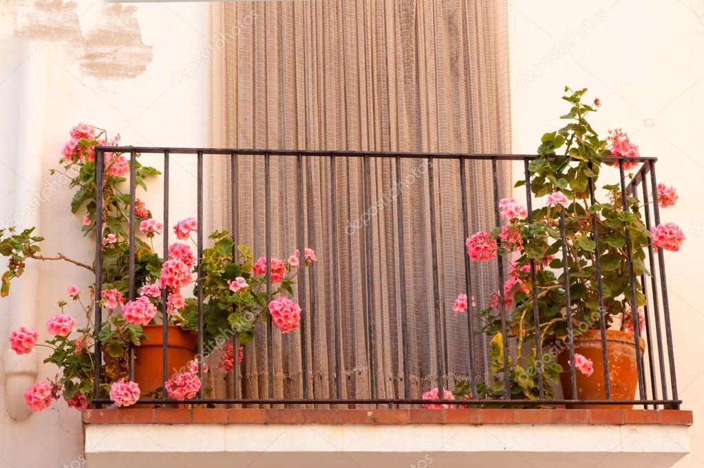 vasi da fiori sul balcone della casa — Foto Stock © OlezzoSimona ...