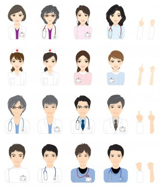 Doctor / Nurse / Face / Illustration