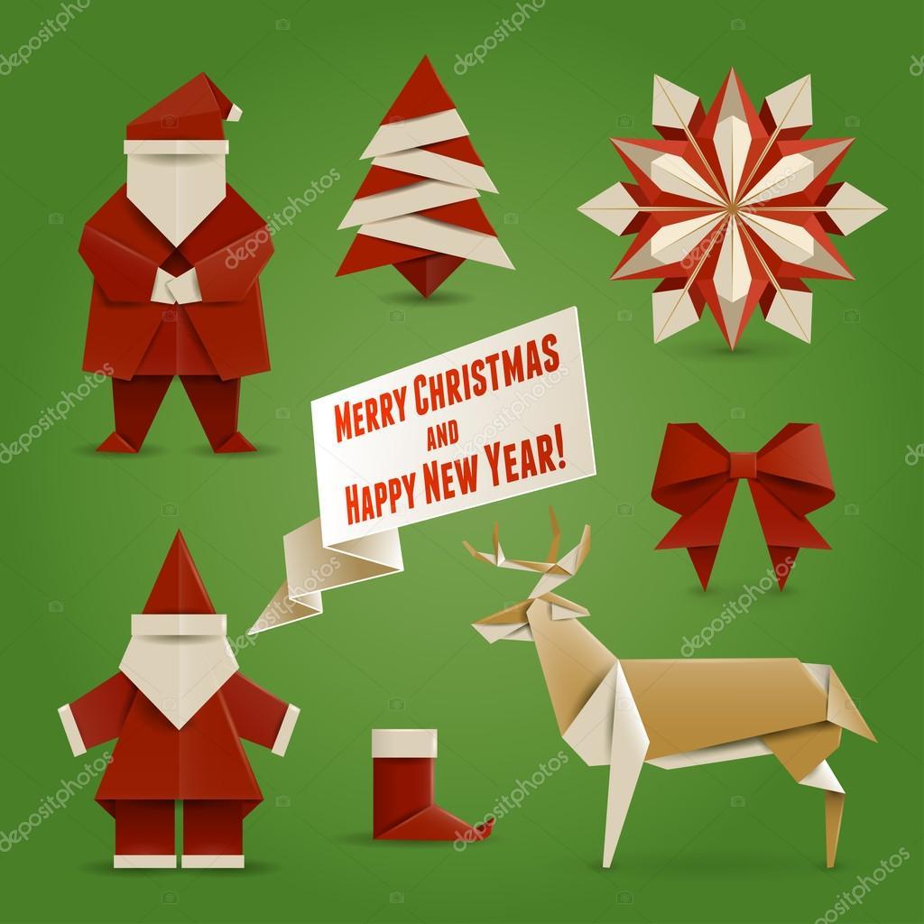 Vánoční origami — Stock Vektor © mything #35705435 - photo#2