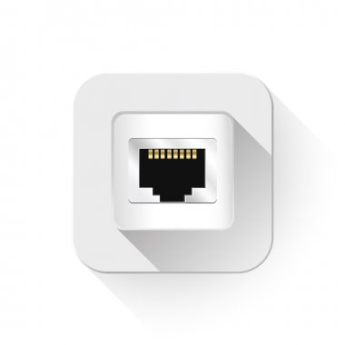 Shiny Network Port Icon With long shadow over app button