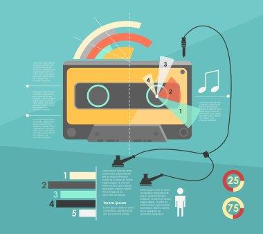 Infographic. audio cassette