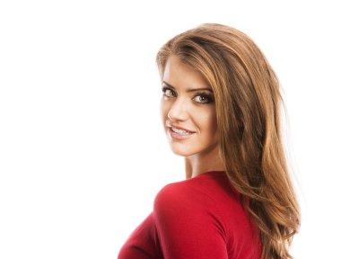 Woman in red cardigan