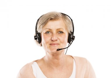 Senior woman with headset