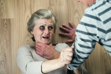 Man trying to strangle his wife.