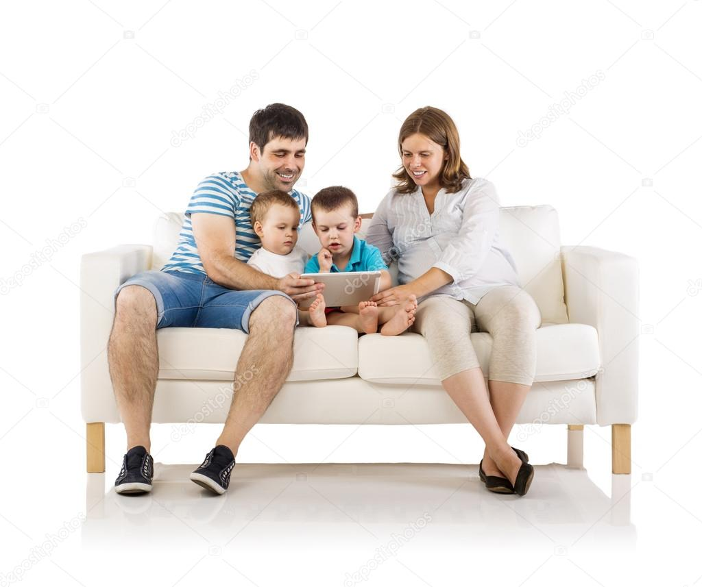 Family Sitting On Sofa U2014 Stock Photo