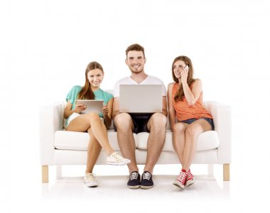 Young people using laptop