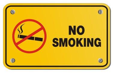 No smoking yellow sign - rectangle sign