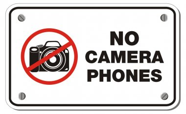 No camera phones rectangle sign
