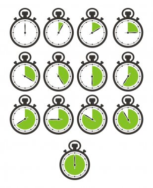 Timer icon sets - green stop watch