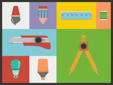 Flat stationery illustrations