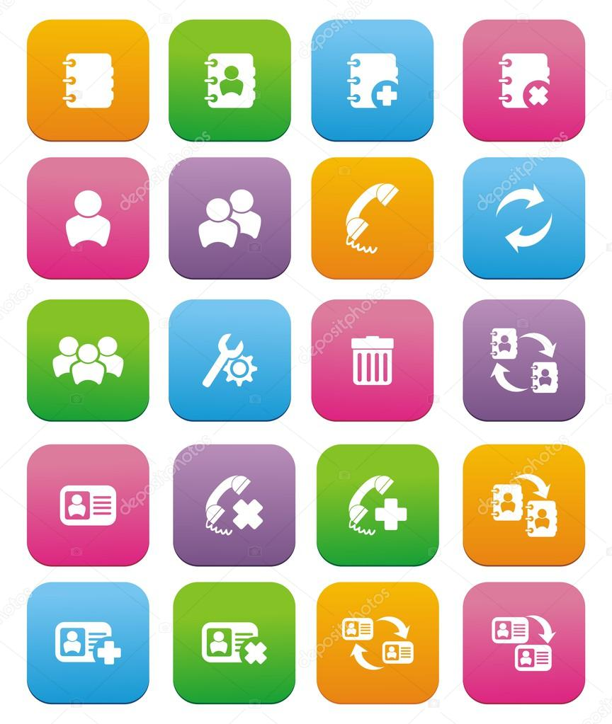 Contact flat style icon sets
