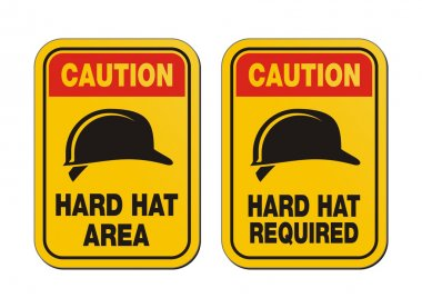 Caution hard hat required signs - yellow signs