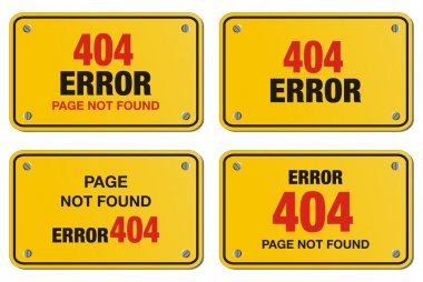 Error 404 yellow sign - rectangle sign