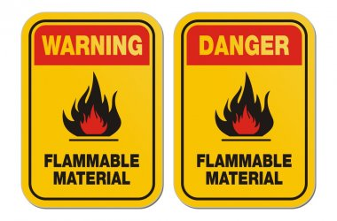 Warning and danger flammable liquid yellow signs