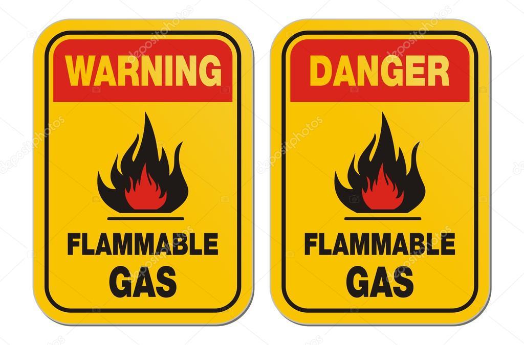 Avertissement et danger gaz inflammable signes jaunes ...