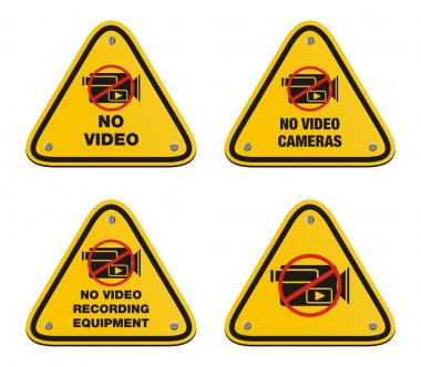 No video cameras signs - triangle signs