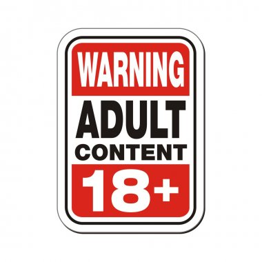 Warning adult content 18plus sign