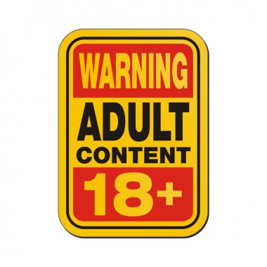 Warning adult content 18 plus sign