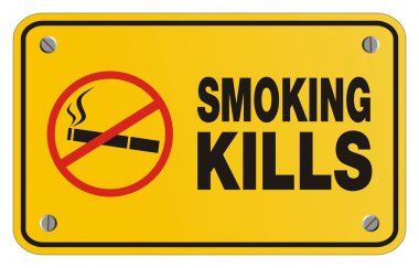 Smoking kills yellow sign - rectangle sign