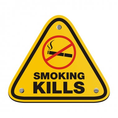 Smoking kills yellow sign - triangle sign