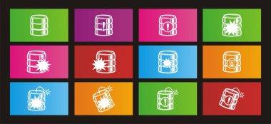 Database crash rectangle metro style icon sets
