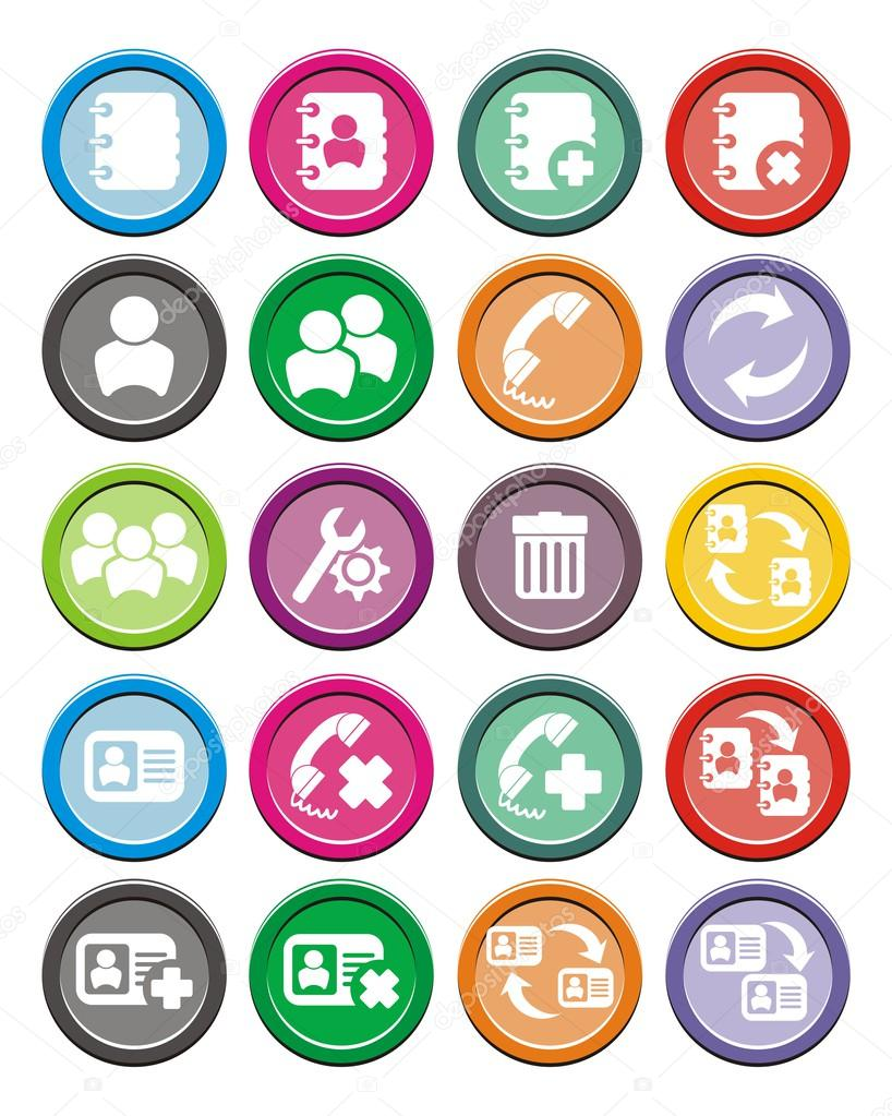 Contact round icon sets