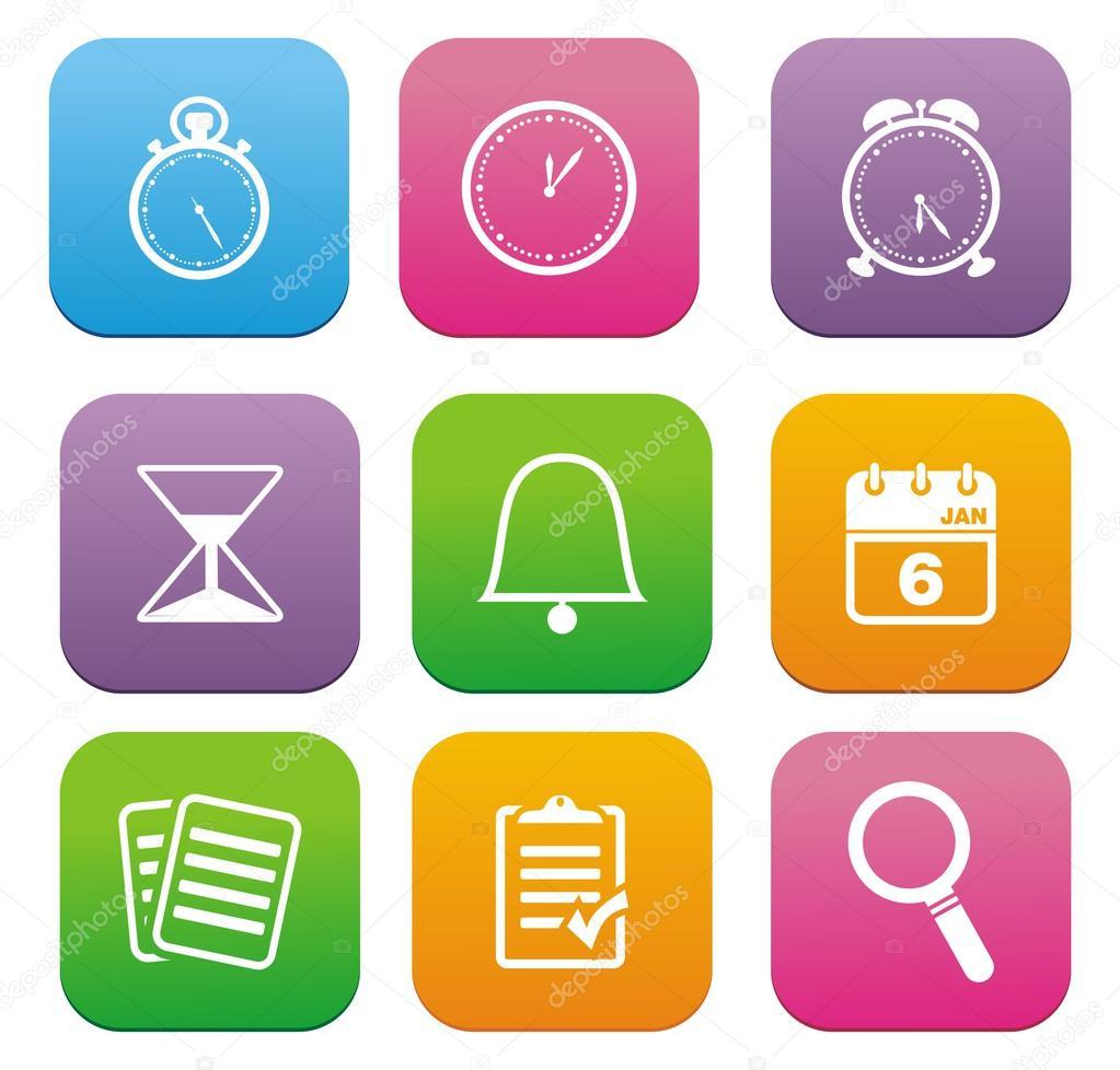 Organiser flat style icon sets