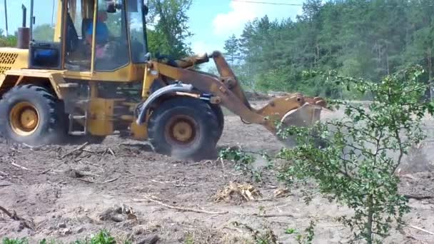 Worker operate with excavator