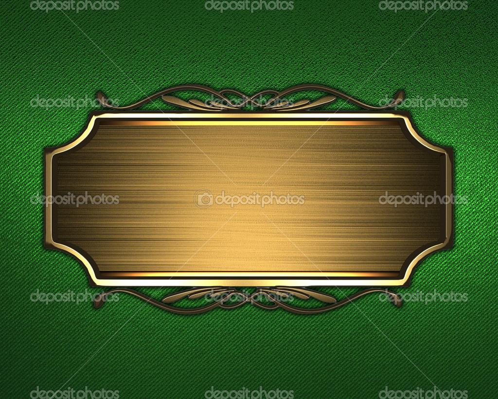 Sfondo Verde Con Targa Doro E Un Pattern Sul Bordo Foto Stock