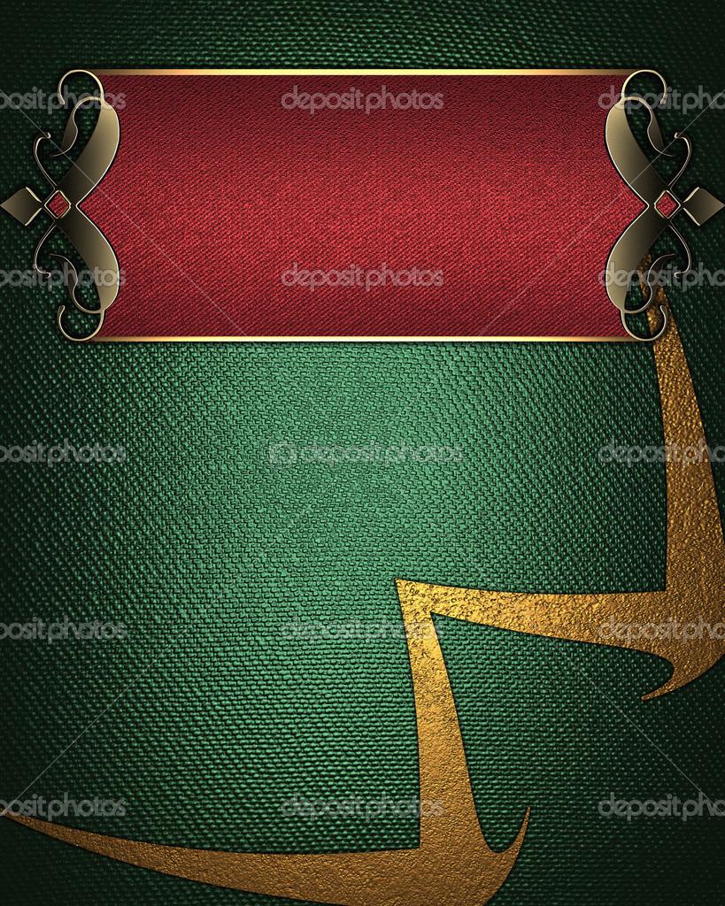 Sfondo Verde Con Targa Rossa Con Bordi Decorati Oro Foto Stock