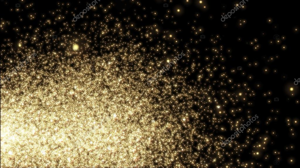 Christmas sparkle. Flickering yellow Lights, on black background