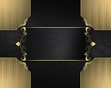 Black texture with black nameplate with gold trim