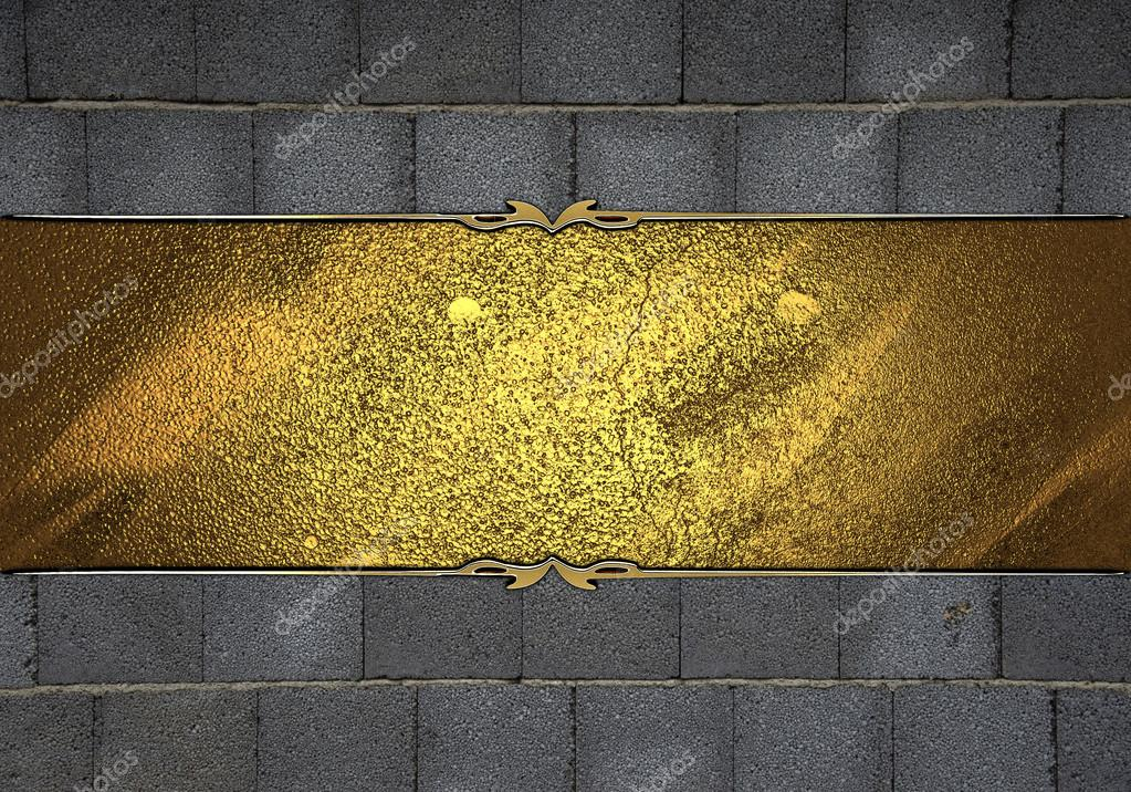 Parete Doro : Pietra parete texture con targa doro con bordi decorati oro u2014 foto