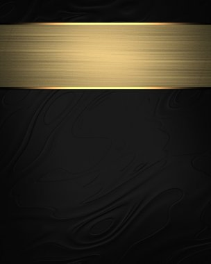 Abstract black background with a plate with golden trim