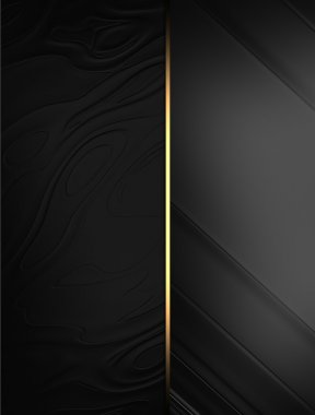 Elegant black background with a gold stripe. Template design. Template for writing text. Template website