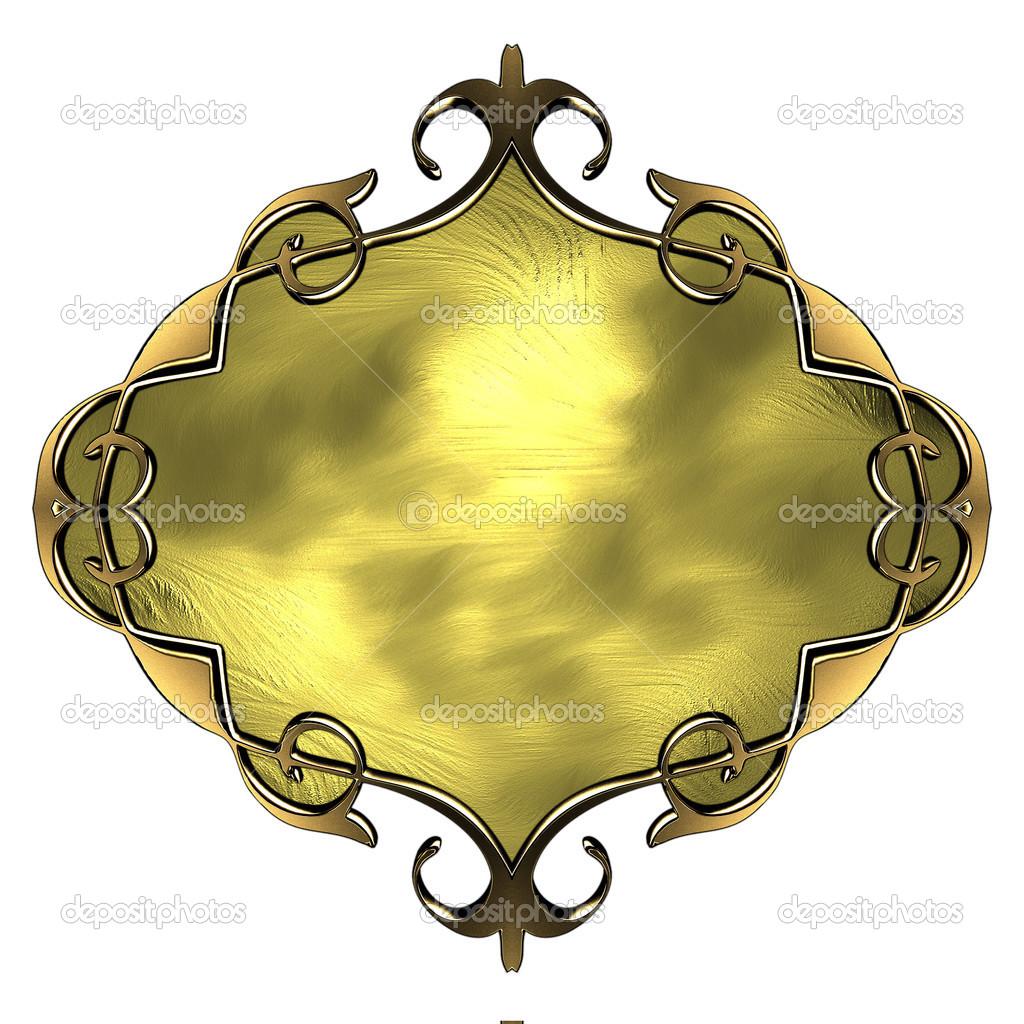 plantilla de la placa de oro con adorno de oro — Fotos de Stock ...