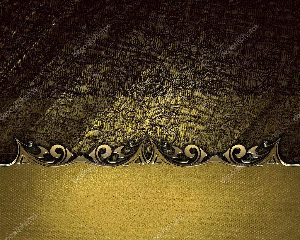 brown background with a gold plaque with decorative borders stock