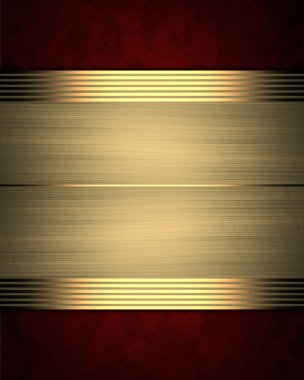 Red background with gold plate. Template for design
