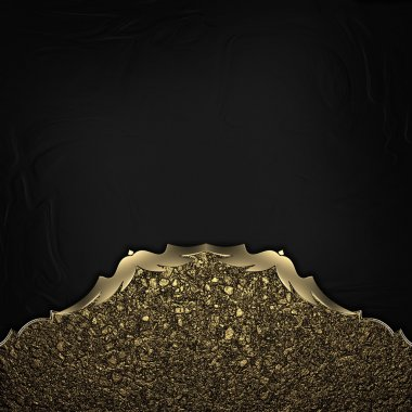 Black Background with gold dust edges with gold trim.
