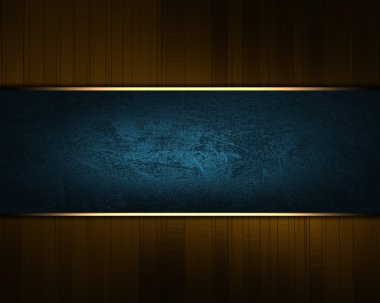 Brown background with blue sign with gold trim