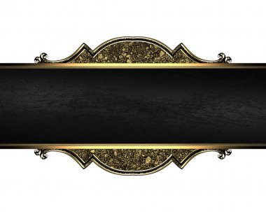 Nameplate with a gold pattern texture of sand and black ribbon. Design template