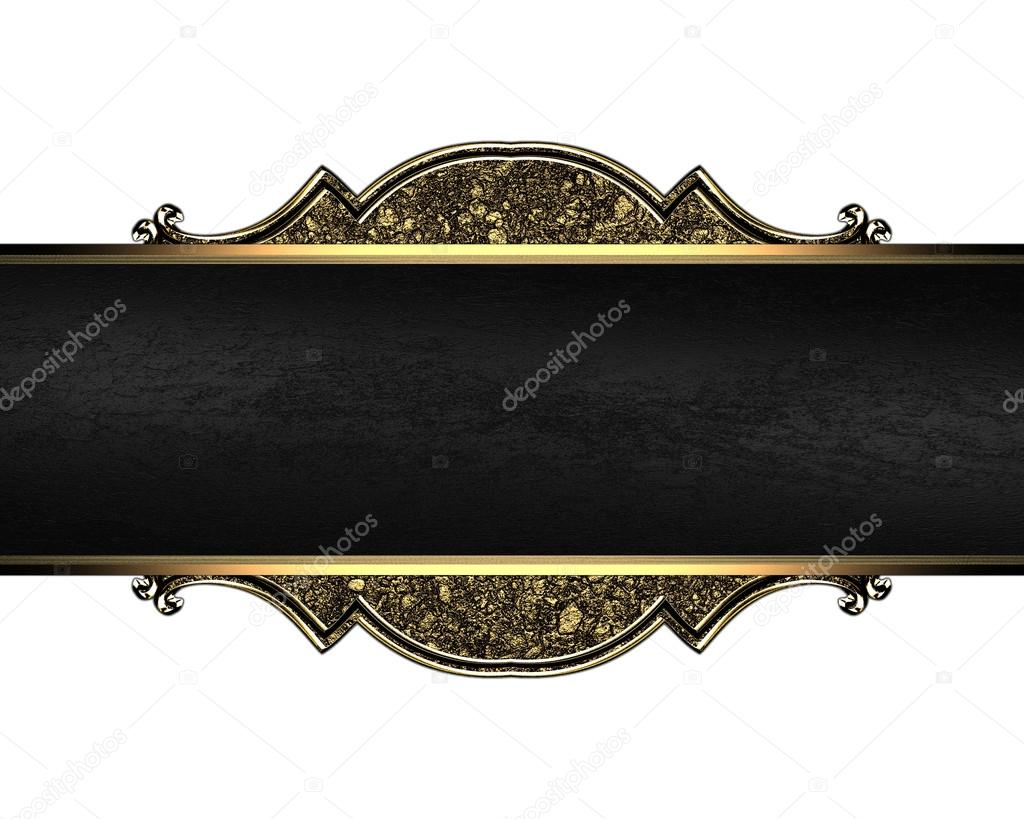 nameplate with a gold pattern texture of sand and black ribbon