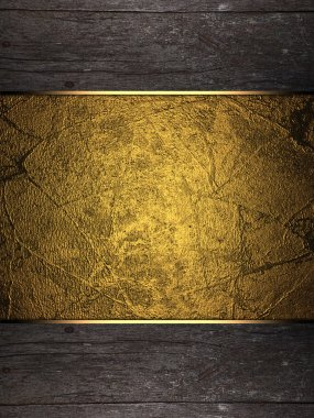 Background of wood with gold plate. Design template. Design site