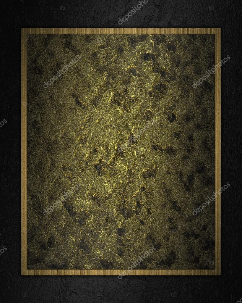 Abstract Dark Gold Plate On A Black Background Design Template Stock Photo 44562871