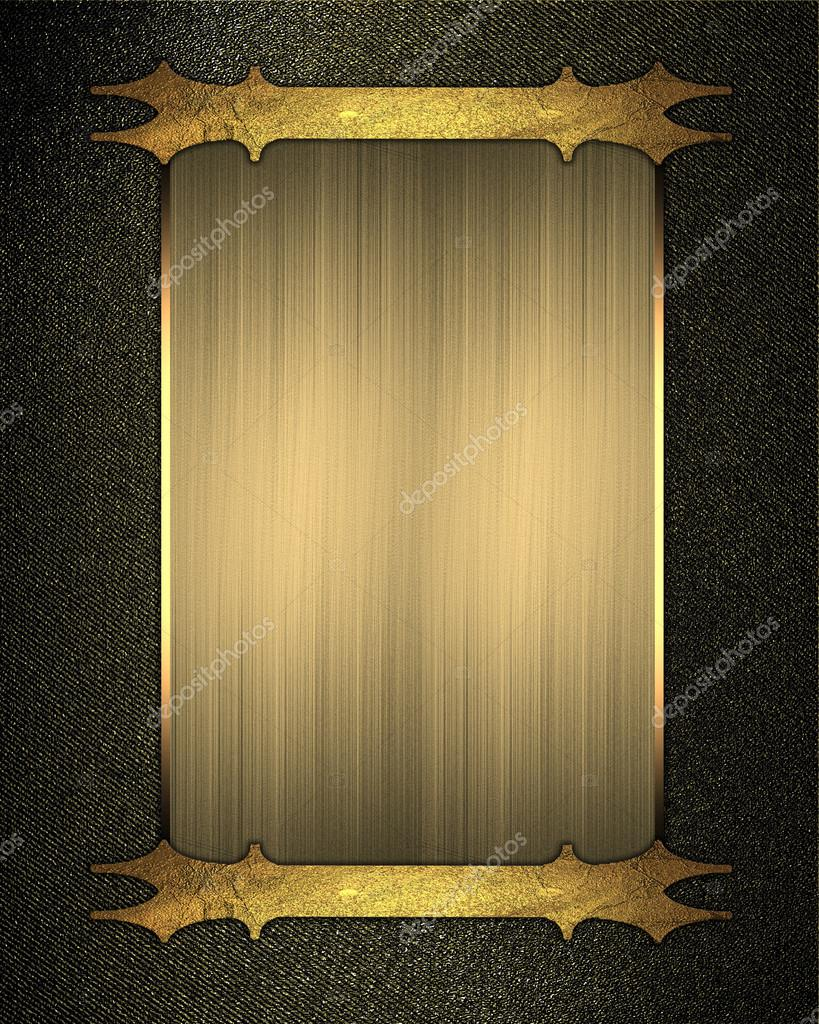 black gold background with gold plate with patterned edges design