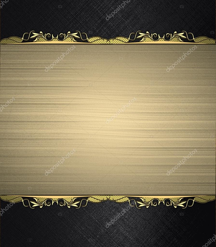Black Background With Gold Nameplate With Gold Trim Design Template