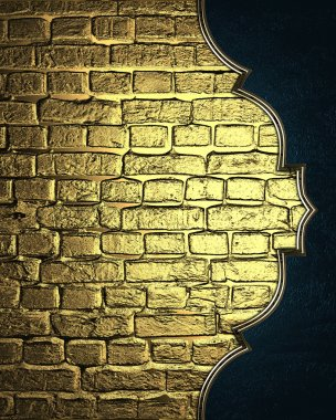 Background of golden bricks with blue edge with gold trim. Design template. Design site