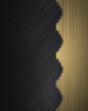 Black texture with gold edge with gold trim. Design template. Design site