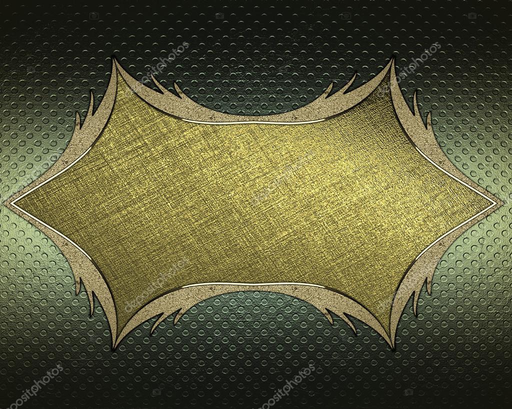 fondo verde abstracto con marco dorado de los bordes de oro ...